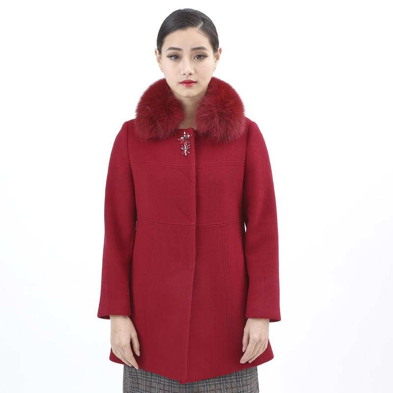 2015新款女装枣红色大衣